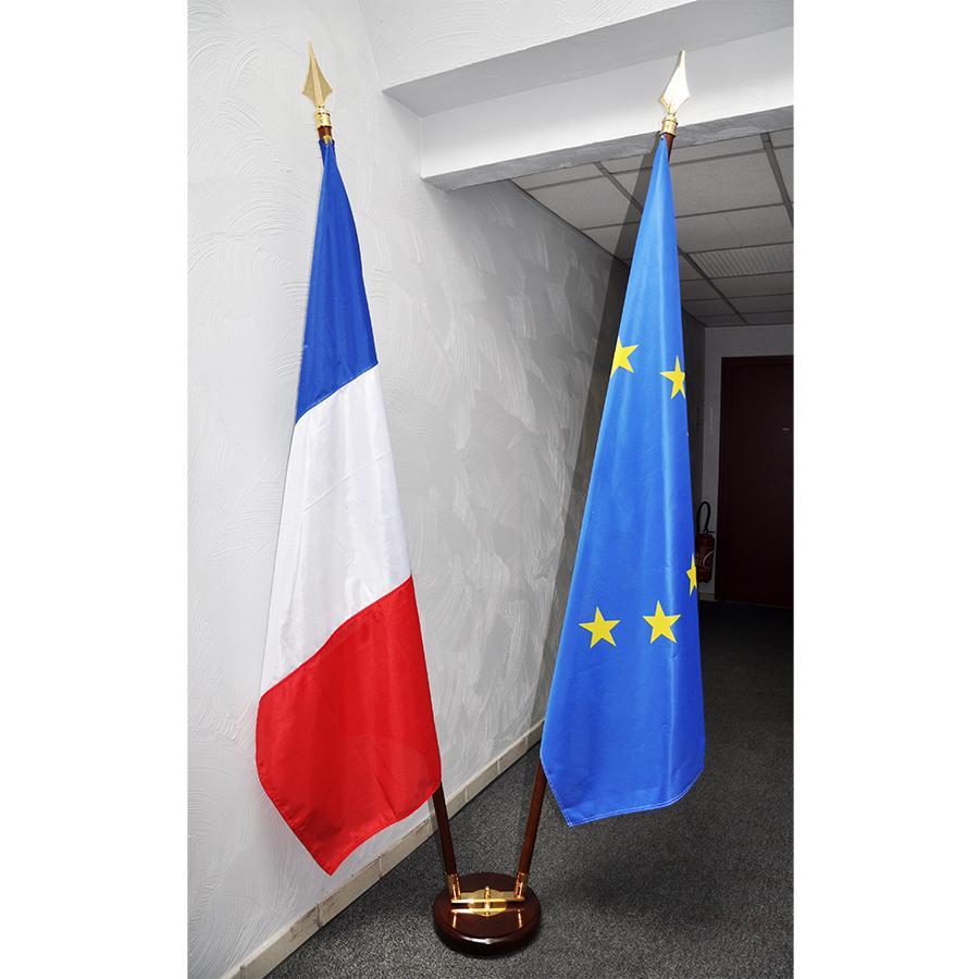ENSEMBLE TRADITIONNEL socle verni bois double et 2 drapeaux