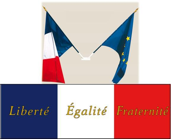 PANNEAU REPUBLICAIN avec 2 drapeaux
