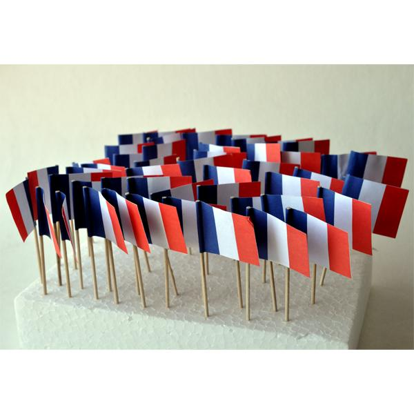 LOT DE 50 MINIDRAPEAUX FRANCE 30X40mm Cocktail