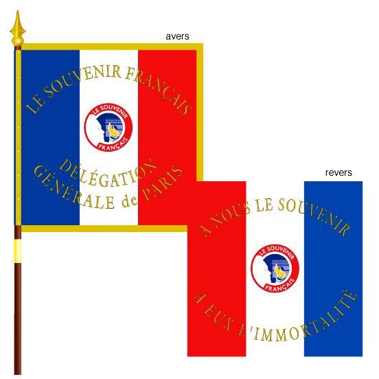 DRAPEAU DU SOUVENIR FRANCAIS BRODE FIL OR