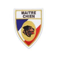 Ecusson soie Maitre-Chien Tricolore Rottweiller
