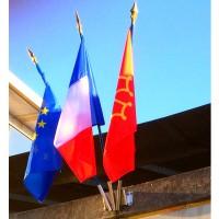LOT DE 3 DRAPEAUX FRANCE EUROPE REGION - hampe bois