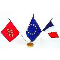 lot de 3 mini-drapeaux avec socle bois - france europe region