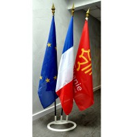 LOT DE 3 DRAPEAUX FRANCE EUROPE REGION - socle triple