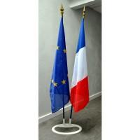 LOT DE 3 DRAPEAUX FRANCE EUROPE REGION - socle triple
