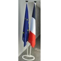 LOT DE 2 DRAPEAUX FRANCE EUROPE MAT ALU avec socle acier double