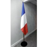 DRAPEAU FRANCE PRESTIGE SUR SOCLE METAL NOIR