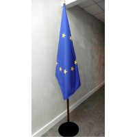DRAPEAU EUROPE PRESTIGE SUR SOCLE METAL NOIR