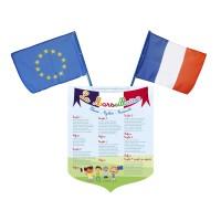 Lot écusson Marseillaise + 2 drapeaux France Europe – modèle Maternelle
