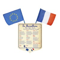 Lot écusson Marseillaise + 2 drapeaux France Europe – modèle classique