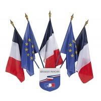 ECUSSON RF 40X50CM avec 5 drapeaux france et europe 60x90