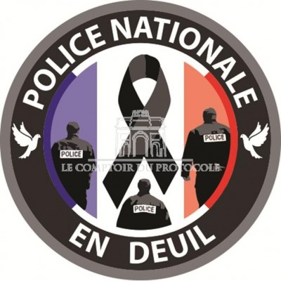 BADGE POLICE NATIONALE EN DEUIL - 38mm