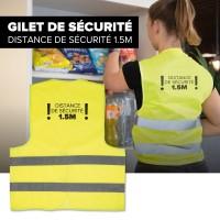 50 GILETs DE SECURITE COVID-19 marqués dos distance 1.50m