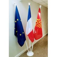 LOT DE 2 DRAPEAUX FRANCE EUROPE MAT ALU avec socle thermolaqué