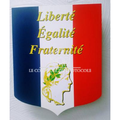 LOT Ecusson porte-drapeau REPUBLIQUE- 2 drapeaux 60x90cm