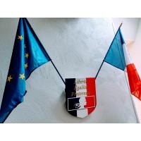 ECUSSON ECOLE avec 2 drapeaux 60x90cm